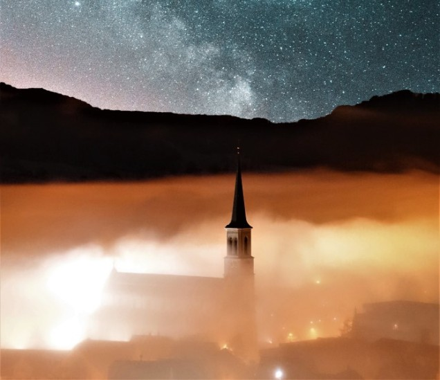 Church in fog